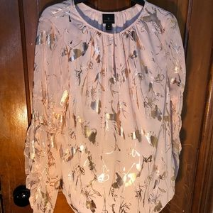 Pink/gold dragonfly print blouse
